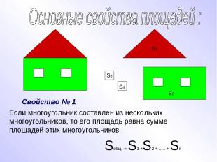 Если многоугольник составлен из нескольких многоугольников, то его площадь равна