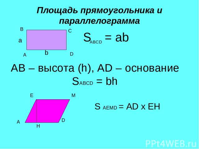 Площадь прямоугольника и параллелограмма а b S = ab A B C D ABCD AB – высота (h), AD – основание SABCD = bh A D Е М Н S AEMD = AD х ЕН
