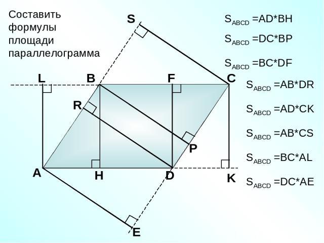 А В С D Составить формулы площади параллелограмма SABCD =АD*BH SABCD =DC*BP SABCD =AB*DR SABCD =BC*DF SABCD =AD*CK SABCD =AB*CS SABCD =BC*AL SABCD =DC*AE