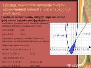 Пример. Вычислите площадь фигуры, ограниченной прямой y=x-2 и параболой y=x2- 4x