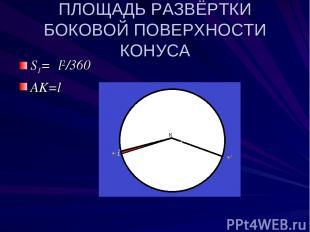 ПЛОЩАДЬ РАЗВЁРТКИ БОКОВОЙ ПОВЕРХНОСТИ КОНУСА S1=πl2/360 AK=l