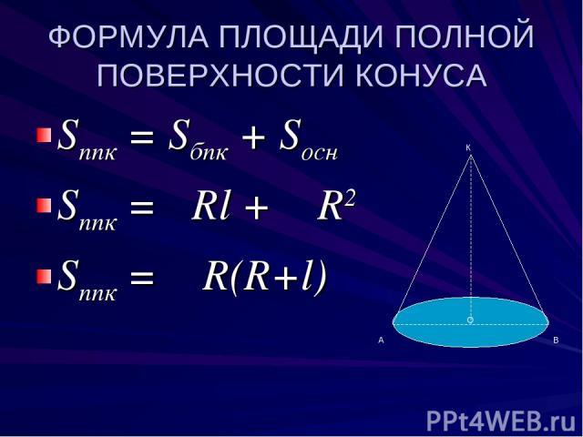 ФОРМУЛА ПЛОЩАДИ ПОЛНОЙ ПОВЕРХНОСТИ КОНУСА Sппк = Sбпк + Sосн Sппк = πRl + π R2 Sппк = π R(R+l) О К А В