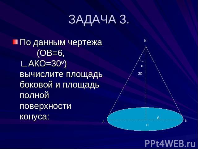 ЗАДАЧА 3. По данным чертежа (ОВ=6, ∟АКО=30о) вычислите площадь боковой и площадь полной поверхности конуса: о 30 К А В О 6