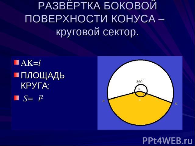 РАЗВЁРТКА БОКОВОЙ ПОВЕРХНОСТИ КОНУСА – круговой сектор. AK=l ПЛОЩАДЬ КРУГА: S=πl2 α