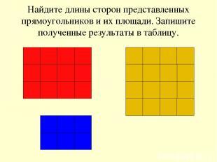 Найдите длины сторон представленных прямоугольников и их площади. Запишите получ