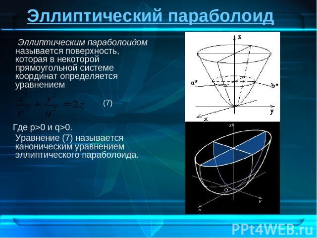 Эллиптический параболоид Эллиптическим параболоидом называется поверхность, которая в некоторой прямоугольной системе координат определяется уравнением Где p>0 и q>0. Уравнение (7) называется каноническим уравнением эллиптического параболоида. (7)
