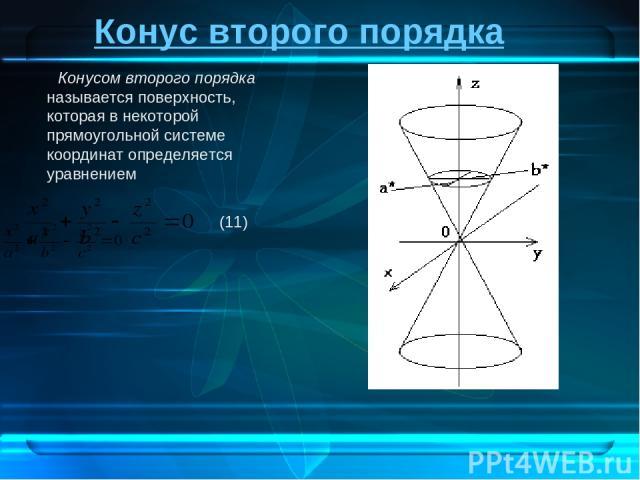 Конус второго порядка Конусом второго порядка называется поверхность, которая в некоторой прямоугольной системе координат определяется уравнением (11)
