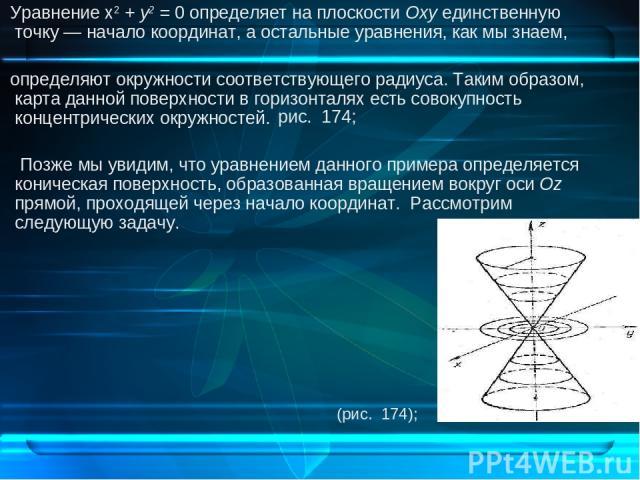 Уравнение х2 + у2 = 0 определяет на плоскости Оху единственную точку — начало координат, а остальные уравнения, как мы знаем, определяют окружности соответствующего радиуса. Таким образом, карта данной поверхности в горизонталях есть совокупность ко…