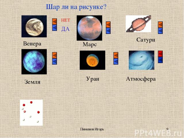 Пименов Игорь * Шар ли на рисунке? НЕТ ДА Венера Земля Марс Уран Сатурн Атмосфера Пименов Игорь