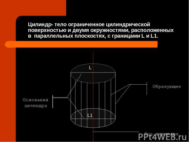 Цилиндр- тело ограниченное цилиндрической поверхностью и двумя окружностями, расположенных в параллельных плоскостях, с границами L и L1. Образующие Основания цилиндра Ось цилиндра L L1