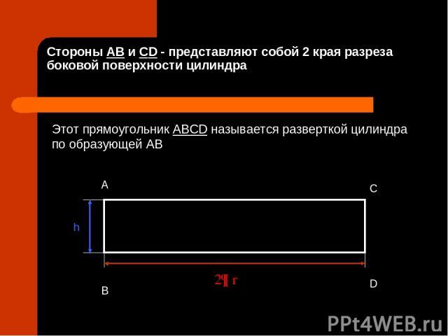 Стороны AB и СD - представляют собой 2 края разреза боковой поверхности цилиндра A B C D h 2¶ r Этот прямоугольник ABCD называется разверткой цилиндра по образующей AB