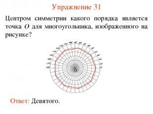 Упражнение 31 Центром симметрии какого порядка является точка O для многоугольни