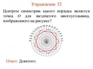 Упражнение 32 Центром симметрии какого порядка является точка O для звездчатого