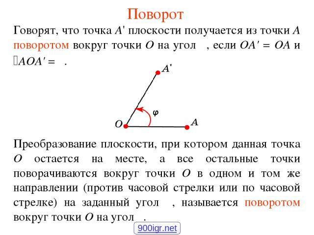Поворот Говорят, что точка А' плоскости получается из точки А поворотом вокруг точки О на угол φ, если OA' = OA и AOA' = φ. Преобразование плоскости, при котором данная точка О остается на месте, а все остальные точки поворачиваются вокруг точки О в…