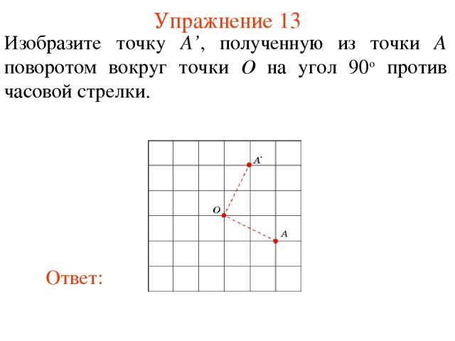 Упражнение 13 Изобразите точку A', полученную из точки A поворотом вокруг точки O на угол 90о против часовой стрелки.