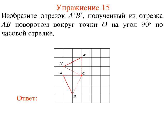 Упражнение 15 Изобразите отрезок A'B', полученный из отрезка AB поворотом вокруг точки O на угол 90о по часовой стрелке.