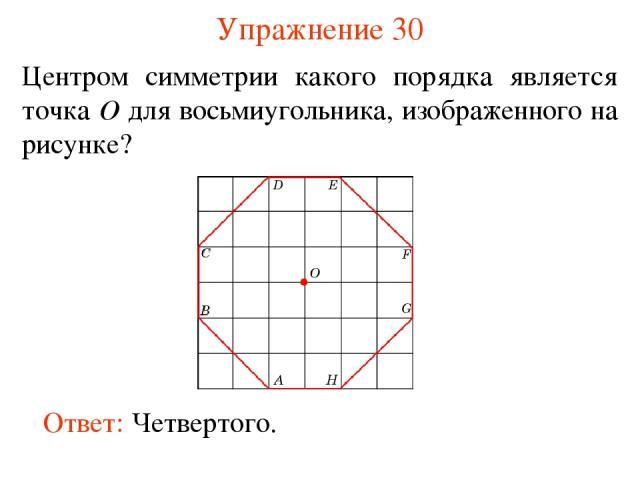 Упражнение 30 Центром симметрии какого порядка является точка O для восьмиугольника, изображенного на рисунке? Ответ: Четвертого.
