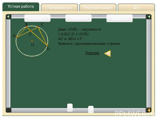 Д/з Решение задач Устная работа Проверка д/з Задача 2 Задача 3 Задача 1 B A C O D F Дано: (O;R) – окружность т.A,B,C,D (O;R) AC ∩ BD= т.F Записать: пропорциональные отрезки. Решение 1). ABD= ACD – вписанные, опирающиеся на одну и туже дугу AD. 2). B…