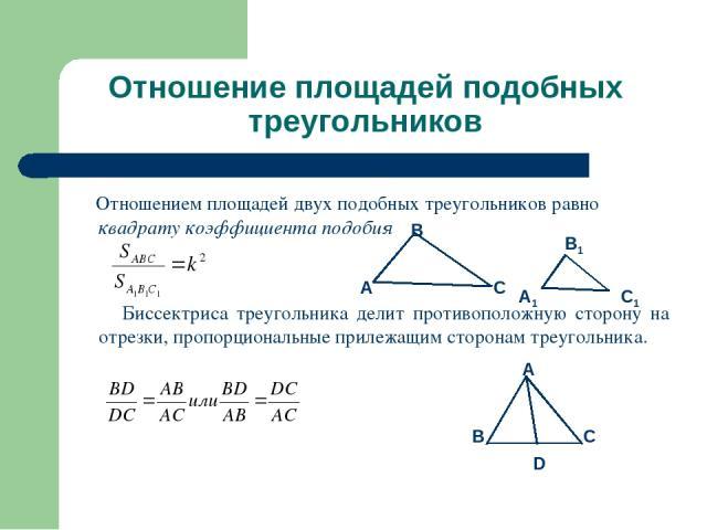 Отношение площадей подобных треугольников Отношением площадей двух подобных треугольников равно квадрату коэффициента подобия Биссектриса треугольника делит противоположную сторону на отрезки, пропорциональные прилежащим сторонам треугольника.