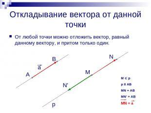 Откладывание вектора от данной точки От любой точки можно отложить вектор, равны