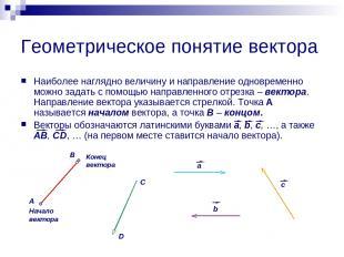Геометрическое понятие вектора Наиболее наглядно величину и направление одноврем