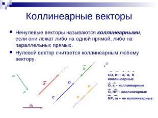 Коллинеарные векторы Ненулевые векторы называются коллинеарными, если они лежат