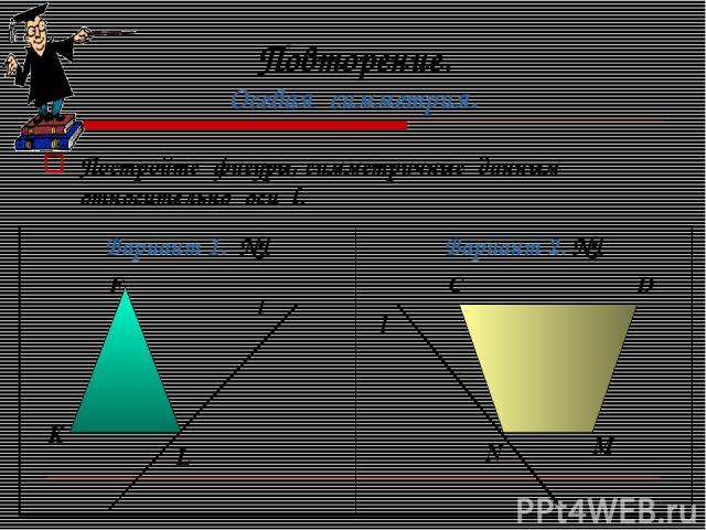Повторение. Осевая симметрия. Постройте фигуры, симметричные данным относительно оси l. l F K L l C D N M Вариант 1. №1 Вариант 2. №1