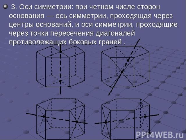 3.Оси симметрии: при четном числе сторон основания— ось симметрии, проходящая через центры оснований, и оси симметрии, проходящие через точки пересечения диагоналей противолежащих боковых граней .