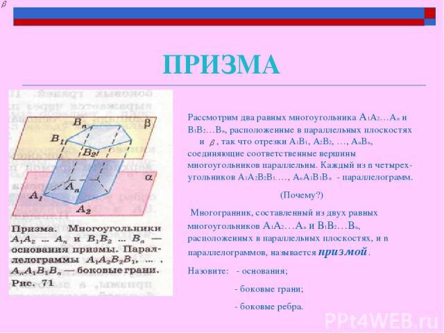 ПРИЗМА Рассмотрим два равных многоугольника А1А2…Аn и В1В2…Bn, расположенные в параллельных плоскостях α и , так что отрезки А1В1, А2В2, …, AnBn, соединяющие соответственные вершины многоугольников параллельны. Каждый из n четырех-угольников А1А2В2В…