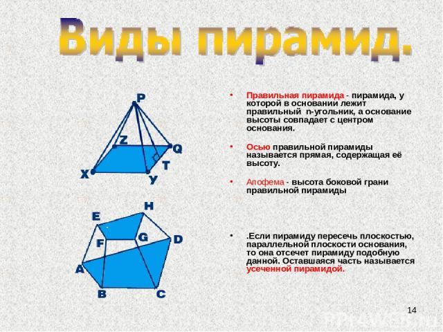 * Правильная пирамида - пирамида, у которой в основании лежит правильный n-угольник, а основание высоты совпадает с центром основания. Осью правильной пирамиды называется прямая, содержащая её высоту. Апофема - высота боковой грани правильной пирам…