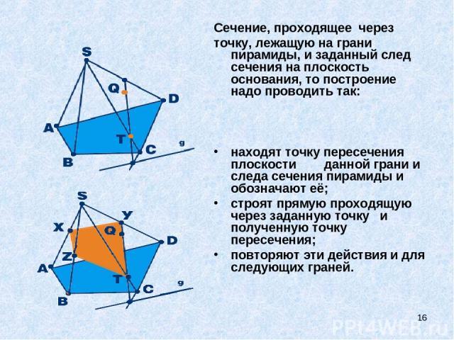 * Сечение, проходящее через точку, лежащую на грани пирамиды, и заданный след сечения на плоскость основания, то построение надо проводить так: находят точку пересечения плоскости данной грани и следа сечения пирамиды и обозначают её; строят…