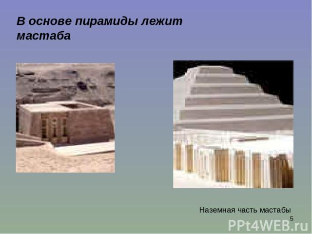 * В основе пирамиды лежит мастаба Наземная часть мастабы