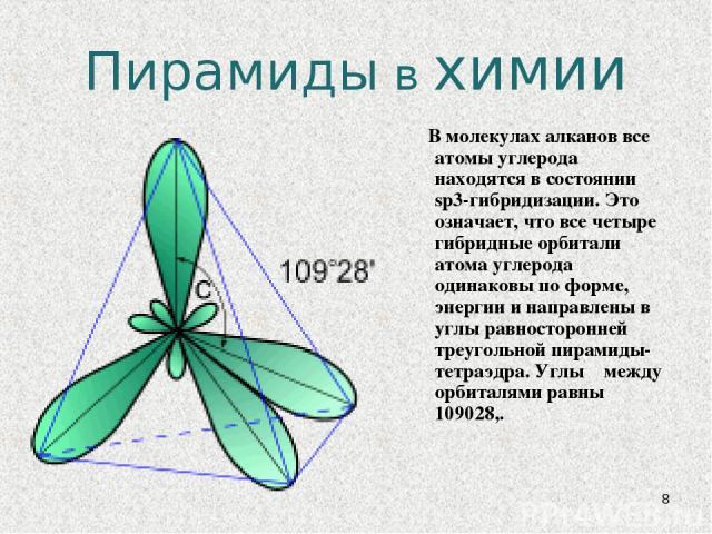 * Пирамиды в химии В молекулах алканов все атомы углерода находятся в состоянии sp3-гибридизации. Это означает, что все четыре гибридные орбитали атома углерода одинаковы по форме, энергии и направлены в углы равносторонней треугольной пирамиды- тет…