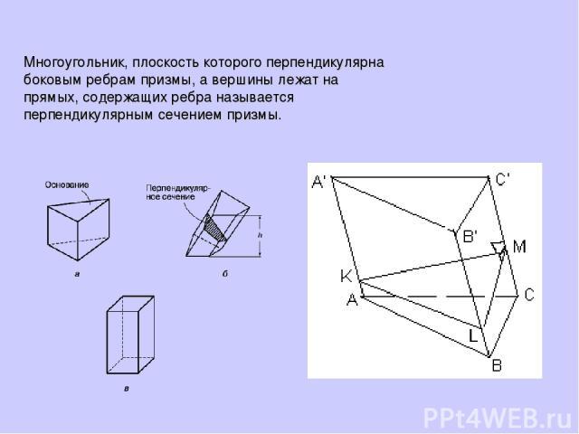 Многоугольник, плоскость которого перпендикулярна боковым ребрам призмы, а вершины лежат на прямых, содержащих ребра называется перпендикулярным сечением призмы.