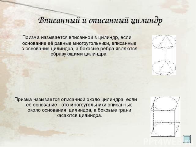 Вписанный и описанный цилиндр Призма называется вписанной в цилиндр, если основание её равные многоугольники, вписанные в основание цилиндра, а боковые рёбра являются образующими цилиндра. Призма называется описанной около цилиндра, если её основани…