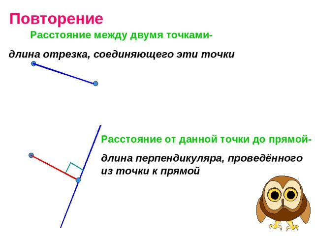 Повторение Расстояние между двумя точками- длина отрезка, соединяющего эти точки Расстояние от данной точки до прямой- длина перпендикуляра, проведённого из точки к прямой