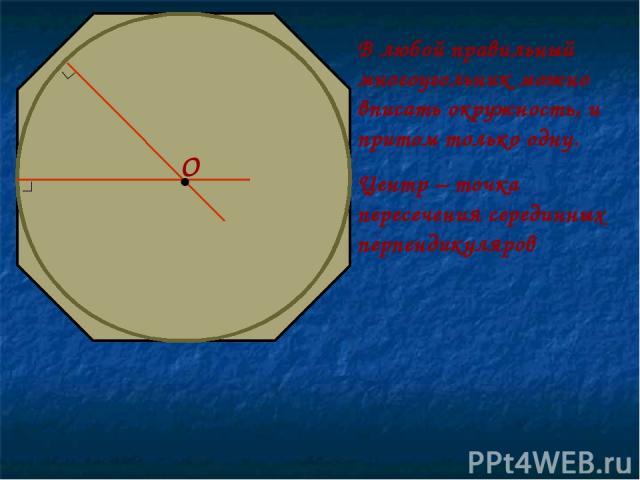 В любой правильный многоугольник можно вписать окружность, и притом только одну. Центр – точка пересечения серединных перпендикуляров • О ∟ ∟