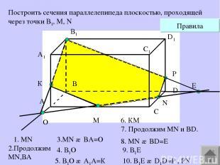 A1 А В В1 С С1 D D1 M N Построить сечения параллелепипеда плоскостью, проходящей