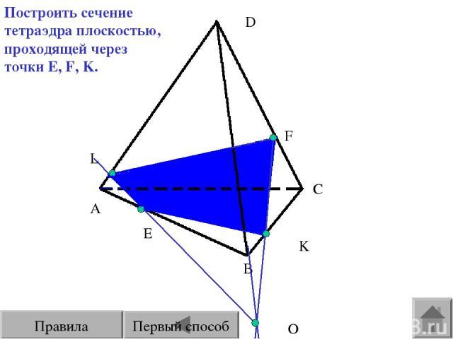 E F L A B C D О Построить сечение тетраэдра плоскостью, проходящей через точки E, F, K. K Первый способ Правила