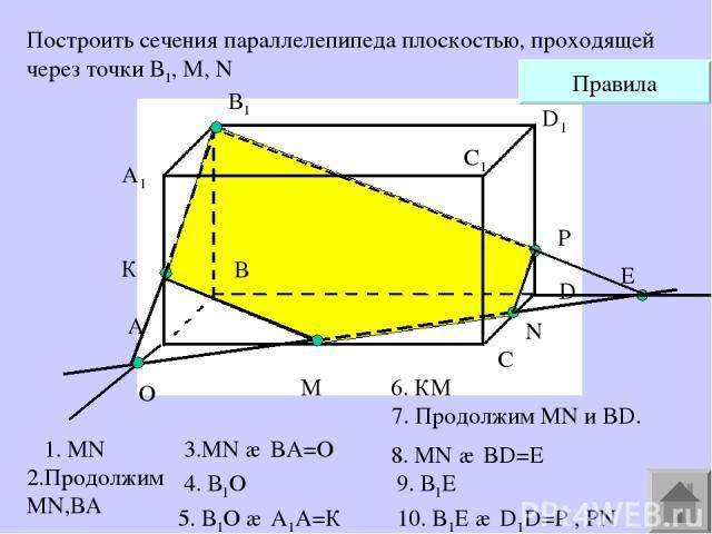 A1 А В В1 С С1 D D1 M N Построить сечения параллелепипеда плоскостью, проходящей через точки В1, М, N O К Е P Правила 1. MN 2.Продолжим MN,ВА 4. В1О 6. КМ 7. Продолжим MN и BD. 9. В1E 5. В1О ∩ А1А=К 8. MN ∩ BD=E 10. B1Е ∩ D1D=P , PN 3.MN ∩ BA=O