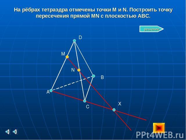 На рёбрах тетраэдра отмечены точки M и N. Построить точку пересечения прямой MN с плоскостью ABC. A C B D M N X решение