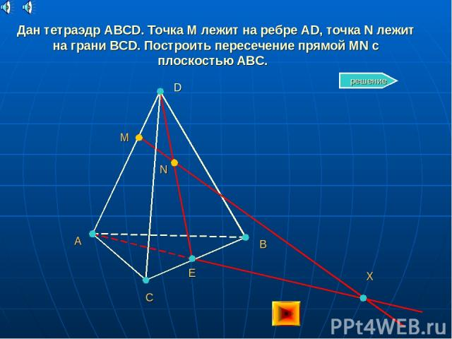 Дан тетраэдр ABCD. Точка M лежит на ребре AD, точка N лежит на грани BCD. Построить пересечение прямой MN с плоскостью ABC. A C B D M N Е X решение