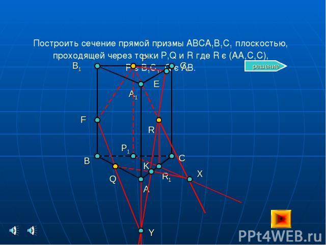 Построить сечение прямой призмы ABCA1B1C1 плоскостью, проходящей через точки P,Q и R где R є (AA1C1C), P є B1C1, Q є AB. B C A B1 C1 A1 Q R P P1 R1 X K E Y F решение