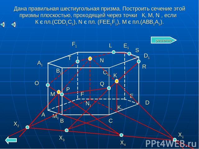 Дана правильная шестиугольная призма. Построить сечение этой призмы плоскостью, проходящей через точки К, М, N , если К є пл.(CDD1C1), N є пл. (FEE1F1), M є пл.(ABB1A1). A B C D E F A1 B1 C1 D1 E1 F1 N K M M1 K1 N1 X1 X2 X3 Q R X4 P O T L S решение