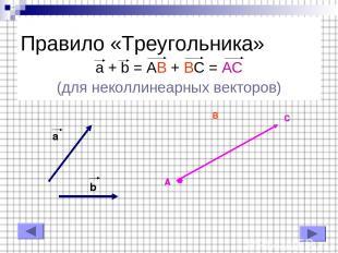 Правило «Треугольника» a + b = AB + BC = AC (для неколлинеарных векторов) b a A