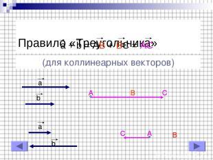 Правило «Треугольника» a + b = AB + BC = AC (для коллинеарных векторов) a b a b