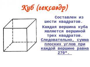 Составлен из шести квадратов. Каждая вершина куба является вершиной трех квадрат