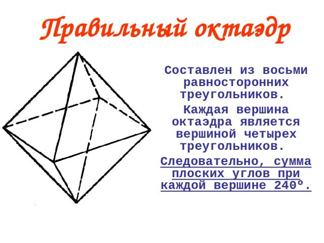 Составлен из восьми равносторонних треугольников. Каждая вершина октаэдра является вершиной четырех треугольников. Следовательно, сумма плоских углов при каждой вершине 240º. Правильный октаэдр