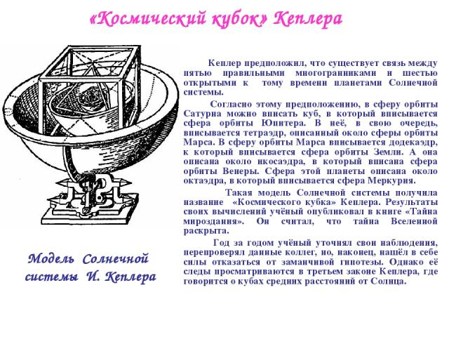 «Космический кубок» Кеплера Кеплер предположил, что существует связь между пятью правильными многогранниками и шестью открытыми к тому времени планетами Солнечной системы. Согласно этому предположению, в сферу орбиты Сатурна можно вписать куб, в кот…