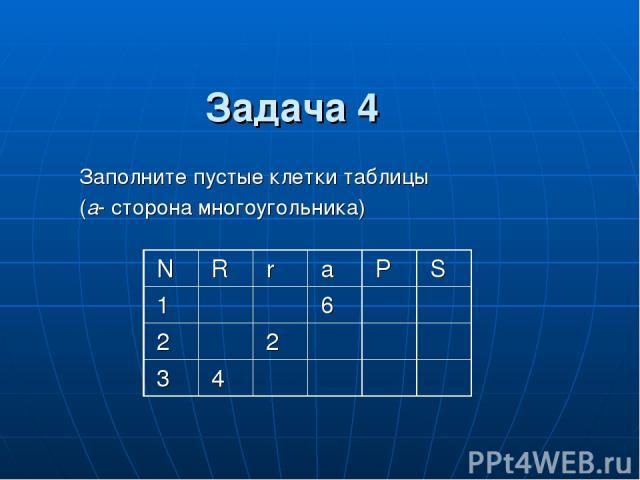Заполните пустые клетки таблицы (a- сторона многоугольника) Задача 4 N R r a P S 1 6 2 2 3 4